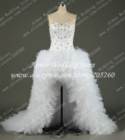 Luxury 100% Real Photo Sample Sparkly Bead Crystal High Low Princess Wedding Dress Gown Front Short Long Back Bridal Dress RA447