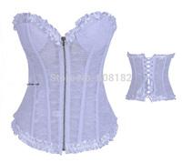 2014 New Arrival women shaper satin  Corselet  lingerie sex  sexy corset 2958 white