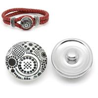 2014 New 12 PCs Snap Buttons Fit DIY Bracelets Dots Round White+Black 18mm Dia. Free Shopping