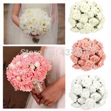 commercio all'ingrosso 50 pz schiuma da sposa mani holding fiore rosa bouquet da sposa artificiale per la decorazione del partito(China (Mainland))