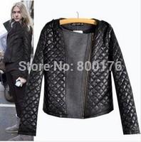 Free shipping 2014 new women stitching wool Slim jackets coats coat jacket cotton