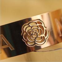 2014 New Style! Fashionable Cheannelles Elegant Hollow Camellia 18K Rose Gold Titanium Steel Bangles.Birthday Gift