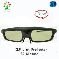 2014 Free shipping 2pcs/lot  shutter rechargeable dlp 3d glasses for DLP -LINK 3D Ready Projector(Acer,BenQ,Vivitek,Optoma)