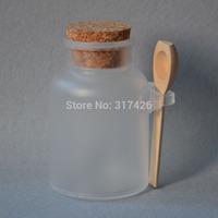 Free Shipping-  200G bath salt Bottle, 200ml powder plastic bottle with cork, bath salt jar with wood spoon