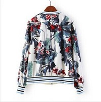 Hot Women's Tops 2014 Selling New Women's Woman Flower Prints V-neck Bomber Jackets Lady Casual Coats with Zipper