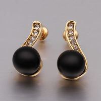 2014 new gold austria crystal earrings brand jewelry fashion freshwater black pearl earrings for women stud earrings