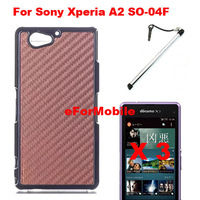 Carbon Fiber Case Leather Cover Mobile Phone Hard Case Back Cover +Screen Protector+Pen For Sony Xperia A2 LTE-A SO-04F