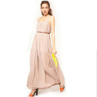 elegant nude chiffon strap long paragraph dress