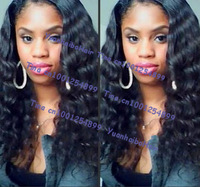 In Stock! top 6a quality 16inch #1b deep wave virgin brazilian lace front wigs for black women Free shipping
