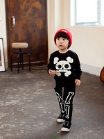 2014 Boy Clothing Set Lovely Human Skeleton Catton Cotton Black Sport Suits Kids Wear Free Shipping