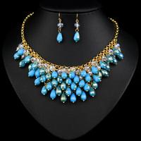 Blue Bib Bubble Statement Necklace Popular Teal Beaded Pendants For Women 2014