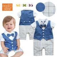 Kids male baby gentleman tie-sleeved Romper baby climbing clothes c130