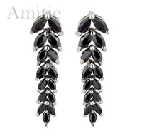 2014 new design korean style fashion statement leaf jewelry for women stud earring AAA zircon jewelry zircon stud earrings A148
