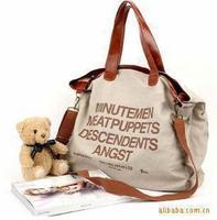 2014 fashion simple canvas shoulder bag worn function bag + free shipping