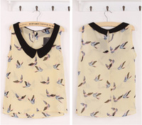 New 2014 Fashion Women Blouses Hot Selling Bird Print Blusas Chiffon Blouse Spring Summer Shirt Sexy Vest Tops Sale Sleeveless
