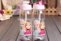 RETAIL FROZEN plastic water 2 piece bottle kids cartoon drinkware children straw cup cute cup tea kettle gift  toy for children