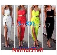 New 2014 Summer Women Neon Asymmetry Slit Beach Dress Ladies White Party Evening Maxi Dresses Sexy Club Vest Dress