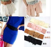 New Fashion Lady Chiffon Double Rose Flowers elastic Belt women's strap JZ62604
