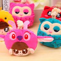Plush doll cute cartoon owl key bag dib bag pull-out women's wallets wholesale Free shipping OF041