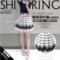 2014 summer women's vintage patchwork print elegant slim basic female one-piece dress