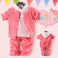 Children Clothing Baby Girls Suits Ruffles Style Outwear Jacket Hooded T shirt Pants 3pcs girls sets Lace Decor Free K0012