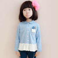 2014 lolita style causal fashion blouses Fall Kids girls personalized long-sleeved plaid shirt Korean children stitching T-shirt