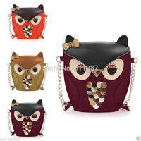 2014 New Fashion Women Leather Handbag Owl Fox Cartoon Bag Shoulder Bags Messenger Multicolor