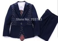 Navy blue children boy Wedding suits Formal Party Tuxedo suit Groom Jacket+Pants+bow tie/necktie+vest+Dress shirt 5 pcs set#8022