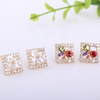 Fashion Women Ladies Jewelry 18K Gold Plated rhombus Bowknot Crystal Stud Earrings free shipping