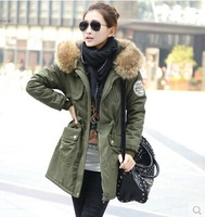 2014 New Arrival Women's High Quality Warm Coat In Winter Fashion Stylish Plus Size Hoodied Fur Collar Thicken Street Style Coat