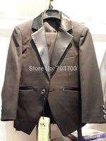 children boy black Wedding suits Formal Party Tuxedo suit Groom Jacket+Pants+bow tie/necktie+vest+Dress shirt 5 pcs set#8024