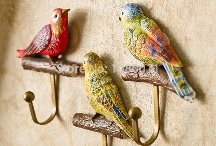 Colorful Bird Home Decoration Creative Fashion Wall Art Decor Hook Hanger Set(China (Mainland))