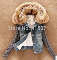 2014 New Arrival Slim Fur Collar Long Sleeve Coat For Women In Winter Women's Causal Style European Fashion Plus Size Jeans Coat