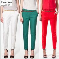 2014 Hot Fashion Slim waist candy colored pencil pants harem pants feet women pants harem pants S M L XL XXL