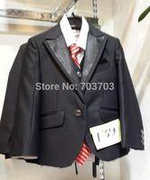 fashion children boy black Wedding suits Party Tuxedo suit Groom Jacket+Pants+bow tie/necktie+vest+Dress shirt 5 pcs set#8025