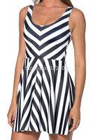 YWNN Knitted Summer Dresses Fashion Sleeveless O-neck Casual Dress Strips 3D Printed  Vestidos Lady's  Bodycon Dress