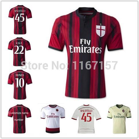 Free Shipping 2015 AC Milan Soccer Jerseys KAKA BALOTELLI AAA+ Quality 14 15 Quick Dry Home Away Champions League Football Shirt(China (Mainland))