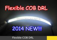 2014 New!! LED Flexible COB DRL Daytime running Lights strip IP65 E4 Waterproof Headlamp reflector