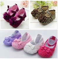 Baby Shose Cute Crib Shoes PreWalkers First Walker Brown Leopard Flower Velcro For Baby Girl Kids