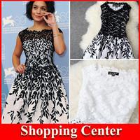 NEW 2014 sleeveless women Embroidery lace dress cheap plus size women dresses new fashion 2014 summer runway dress