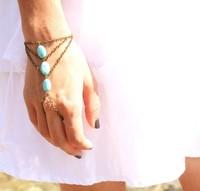 Wholesale-Boho Slave Bracelet hand harness Bohemian Three Turquoise Beads Bracelet chain Hipster Bronze Chain bracelet Jewelry