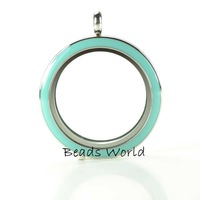 Free Shipping 1 Pcs Stainless Steel Origami Owl Round Glass Twist  Living Memory Locket With Blue Face 30mm(W03902 X 1)