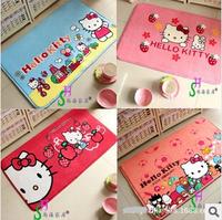 House mat Hello Kitty cartoon coral fleece antiskid mat girls doormat kids circular carpet