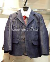 deep blue children boy Wedding suits Formal Party Tuxedo suit Groom Jacket+Pants+bow tie/necktie+vest+Dress shirt 5 pcs set#8027