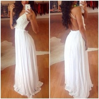 The latest European explosion of White Lace Chiffon sexy nightclub halter OM139 long dress sexy bodycon dress maxi shirt dress