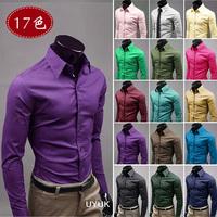 2014 Mens Slim fit Unique neckline stylish Dress long Sleeve Shirts Mens dress shirts 17colors