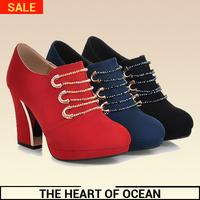 Fashion Women PU Ankle Boots Solid Square Heel Rhinestone Short Boot Feminine High Heel Winter Shose S159