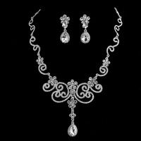 Free Shipping Gorgeous Floral Teardrop Crystal Bridal Jewelry Sets Imitation Gemstone Jewelry Necklace Earrings