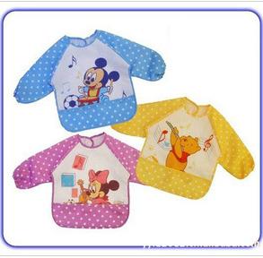2014 Hot Sale New Cute Children Baby Todder Waterproof Long Sleeve Art Smock Bib Apron(China (Mainland))