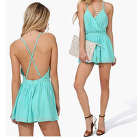 2014 Summer Hot Sale Women's Party High Street Novelty Brand Fashion Pleated Sexy Mint Green Spaghetti Strap Backless Jumpsuits